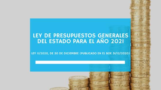 Ley de Presupuestos Generales del Estado para el año 2021 – Ley 11/2020, de 30 de diciembre (publicado en el BOE 31/12/2020) (enero 2021)
